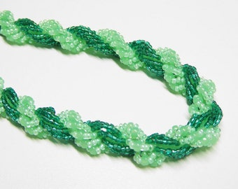 hand made green bead spiral rope necklace,green beaded rope necklace,green spiral rope necklace,double spiral rope necklace, beaded necklace