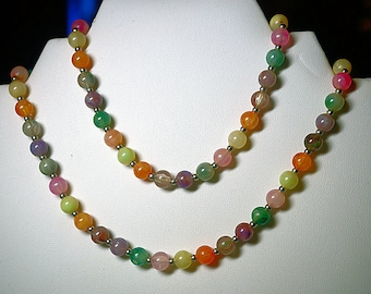 30 inch Plastic Bead Necklace, Multi Color beads, Vintage Necklace