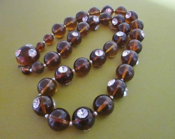 Vintage Rhinestone and Lucite Bead Necklace SALE