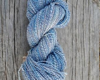 January Sale Handspun Yarn in Big Sky Blues - Merino Silk And Bamboo. Plied Marl Handspun Yarn - Soft & Silky, Fingering Weight for Knit Cra
