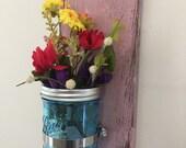 Pink Wooden Plaque Blue Mason Jar Flower/Candle Holder