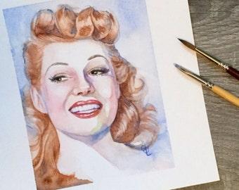 Rita Hayworth original watercolour painting