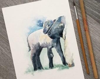 Ewe and lamb sheep love original watercolour painting