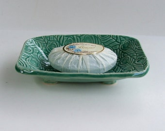 Ceramic Soap Dish, Feather pattern, Footed, Handmade