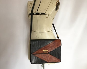 Vintage Shoulder Bag Leather Embossed Snake texture Two Tone Black and Brown Chevron Vintage Cross Body Purse