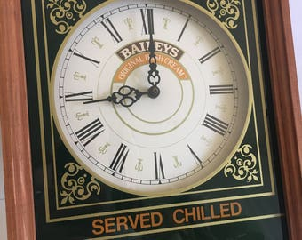 Vintage Bar Clock Advertising Baileys Irish Cream Traditional Wood Framed Bar Glass Mirror 1980's