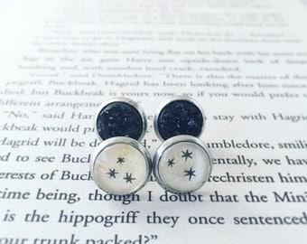 Recycled star book druzy earrings, repurposed book, literary jewelry, recycled book, earring gift set, bibliophile jewelry, fandom art