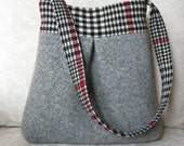Gray and Plaid BELLA Handbag, Upcycled Wool Sweater Purse, Shoulder Bag