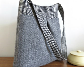 Gray and Plaid BELLA Handbag, Upcycled Wool Sweater Purse, Shoulder Bag