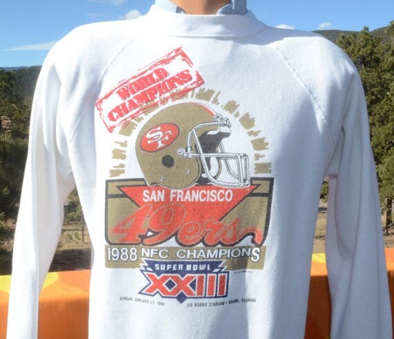 vintage 80s sweatshirt san francisco 49ers nfl football superbowl champs 1988 Medium Large crew neck raglan
