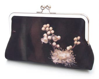 Flower clutch bag, silk purse, black and white flower blossom, woodland wedding, white bud, bridesmaid gift