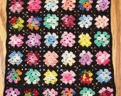 Crochet Dollhouse Afghan Granny Square Variegated Centers