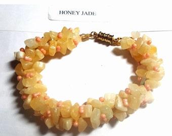 Honey Jade Chip Bracelet