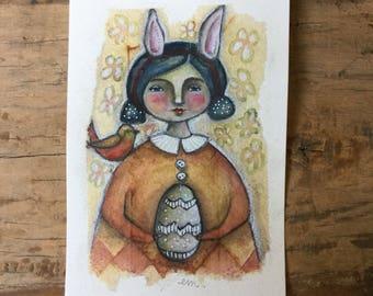 Greeting card watercolor art piece tea bag easter bunny girl