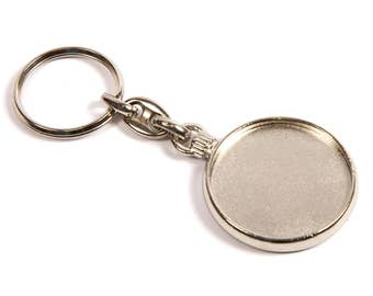 Pack of 5 Blank Round Metal Keyring Printed Insert/Logo - Silver Plated 33mm