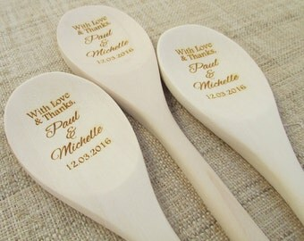 Personalized Wooden Spoon - Wedding Favor Thank You - Engraved Custom Wooden Spoon (1 spoon)