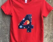 Childs Solar System Shirt for Boys or Girls - Sizes for Toddlers and Big Kids - You Choose Appliqué Shape, Shirt Color - Great Birthday Gift