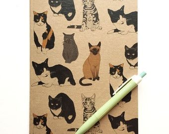 Cat notebook - illustrated cats recycled kraft plain notepad- eco friendly cat gift