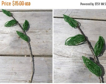 ON SALE 20% Vintage 1900/1930  French Antique beaded  branchs/leaves/seed beads /beadwork/flowers/timeworn