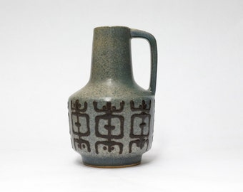 VEB HALDENSLEBEN East German Ceramic Lava Vase | Gray Handled Vase | German Pottery | Mid Century Modern Home Decor.