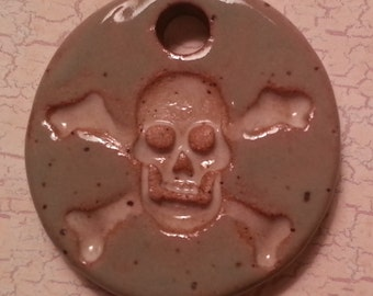 Custom Small Handmade Clay Pottery Pendant Charm or Mini Ornament - Choose Shape and Color - SKULL AND CROSSBONES