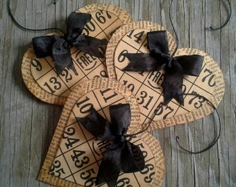 3 Bingo Heart Valentine Decor Ornaments Tags Accents, Dark Chocolate Ribbon, Wire Hangers