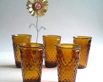 Set of 5 Amber Shot Glasses Diamond Nubs Nubby Bumps