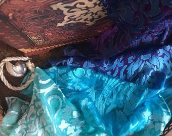 Handpainted silk satin devore nuno felting scarf piece mint turquoise purple