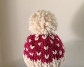 HOLIDAY SALE Bobble Beanie Baby Girl Hat, Knit Baby Hat, Pom Pom Baby Hat, Fair Isle Raspberry and Fisherman