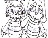 1425 Two Bees Friends Digi Stamp  ON SALE