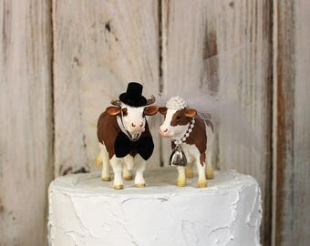 Cow Cake Topper-Animal Wedding Cake Topper-Farm-Sentimental Cow-Barn Wedding Cake Topper-Farmer Boy and Girl-Cow Bride and Groom