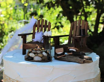 Adirondack Chair With Campfire, Smores and Marshmallows on Stick, Adirondack Chairs, Glowing Campfire, Bride and Groom, Wedding Cake Topper