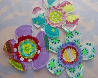 Sewn Petal Flower Fabric Appliques Set of Three