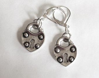 Heart padlock earrings silver tone for pierced ears nickel free