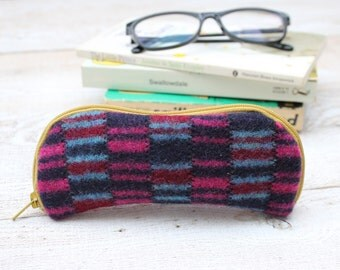 Felted Wool Glasses Case Colorful Patchwork Glasses Case in Blues Maroon and Pink