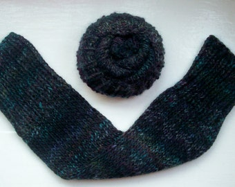 Leg warmers, chunky yarn, warm, black, dark navy