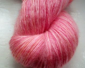 Hand painted yarn 100g. fine mohair laceweight soft mid pinks