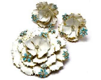Vintage Sandor signed white and pale blue enamel rhinestone floral brooch and earrings set