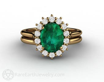 Emerald Engagement Ring Emerald Ring Oval Cluster Halo Diamonds May Birthstone Green Gemstone