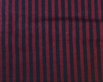 "Fabric Destash maroon and black stripe medium weight 1.5 yards of 56"" wide"