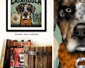Catahoula Leopard Dog Cur brewing beer Company graphic art archival giclee print by Stephen Fowler