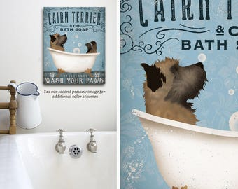 Cairn Terrier dog  bath soap Company artwork on gallery wrapped canvas by Stephen Fowler