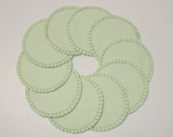 Reusable Cotton Rounds, Mint Green Makeup Remover Pads, Washable Facial Rounds, Toner Pads, Cosmetic Rounds