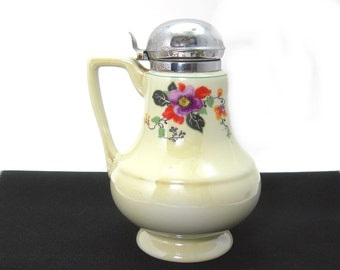 Royal Rochester Chinaware Syrup Pitcher, Black Leaf and Myrtle, Art Deco Era Hand-painted, Pale Yellow Body, Chrome Lid, Vintage Kitchen