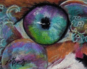 original art  aceo drawing cat face eye colorful abstract design zentangle