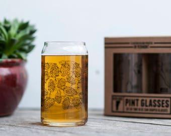Hops design - set of two pint glasses beer lover brewer