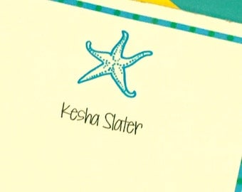 Turqouise Starfish Beach Lover Beach House Personalized Notepad