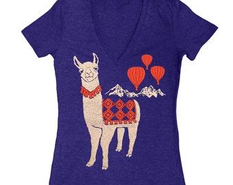 Llama - Womens Fitted VNeck T-shirt Girls Tee Shirt Adorable Cute Nature Mountain Llamas Alpaca Animal Hot Air Balloon Indigo Blue Tshirt