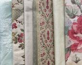 Rose Pink, Green, Robin Egg Blue Fabric Pack, Collection...DESTASH SALE, Closeout Clearance...6 home designer samplers,remnant,scrap...F1787