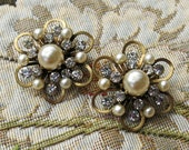 Vintage Kramer Brooches, Scatter Pin Set, Signed Pearl & Rhinestone Broochs...1940s-50s...2 Kramer Marked Brooches, Cluster Pin Pair